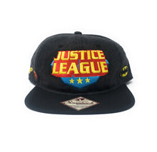 Load image into Gallery viewer, Bioworld Licensed Justice League AOP Sublimation Multi-Logo Black Snapback Hat