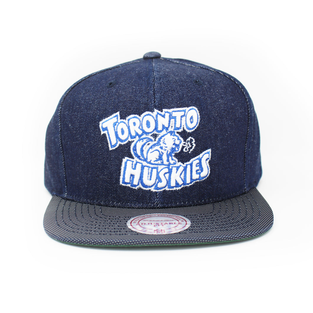 Mitchell And Ness Toronto Huskies Raw Denim 3T PU Visor Blue Denim Snapback Hat