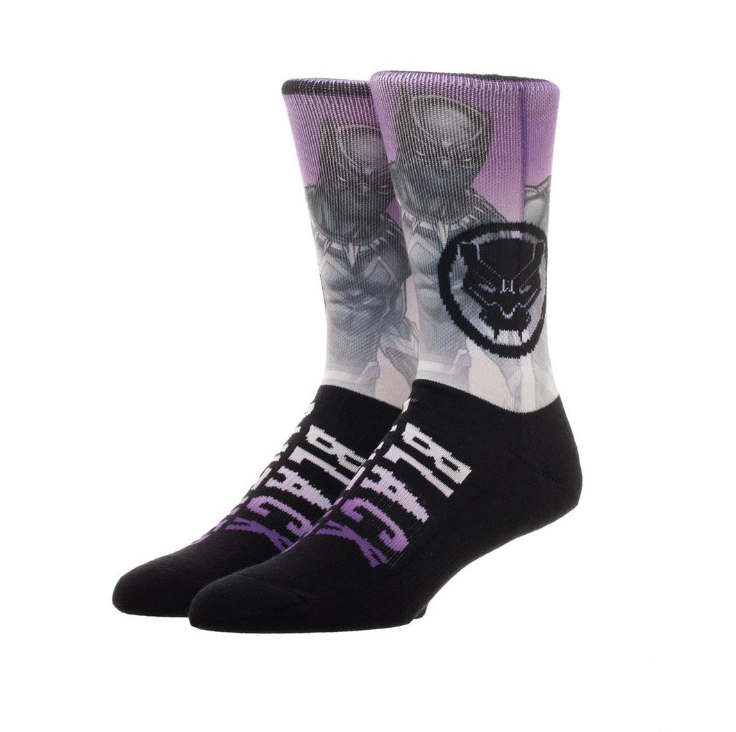 Bioworld Licensed Black Panther Sublimated Knit Purple/Black Socks