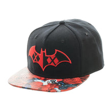 Load image into Gallery viewer, Bioworld Licensed Harley Quinn - Roses Sublimated Brim Black/Red Snapback Hat
