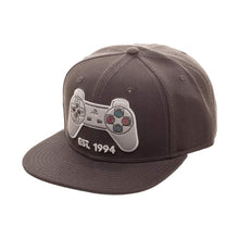 "Load image into Gallery viewer, Bioworld Licensed Playstation Controller ""Est. 1994"" Grey Snapback Hat"