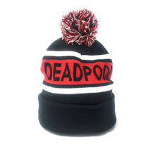 Load image into Gallery viewer, Deadpool - Logo - Intarsia Red/Black Cuff Stripe Knit Beanie With Pom-Pom