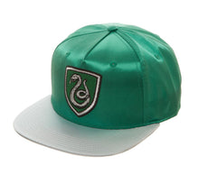 Load image into Gallery viewer, Bioworld Licensed Harry Potter - Slytherin - Satin Metallic Embroidery Green/Grey Snapback Hat