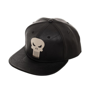 Bioworld Licensed Punisher Suit Up PU Leather With Metal Logo Black Snapback Hat