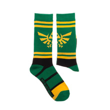 Load image into Gallery viewer, Bioworld Licensed The Legend Of Zelda Graphic Stripe Athletic Green/Yellow Socks