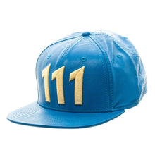 "Load image into Gallery viewer, Bioworld Blue Licensed Fallout ""111"" PU Leather Snapback Hat"