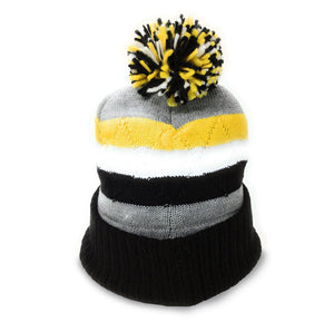 Wu-Tang Clan Logo - Intarsia Yellow/Grey/Black Cuff Stripe Knit Beanie With Pom-Pom