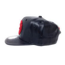 Load image into Gallery viewer, Mitchell and Ness Toronto Raptors PU Leather Red Partial Logo Black Snapback Hat