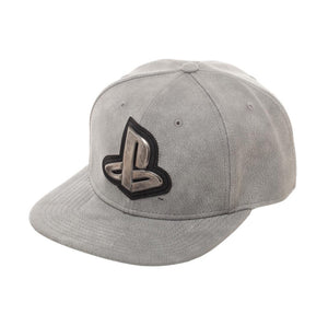 Bioworld Licensed Sony Playstation Distressed PU Leather With Metal Logo Grey Snapback Hat