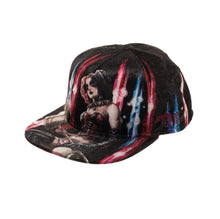 Load image into Gallery viewer, Bioworld Licensed Harley Quinn Velvet Fabric Black Snapback Hat