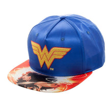 Load image into Gallery viewer, Bioworld Licensed Wonder Woman - DC Comics - Sublimated Brim Satin Blue Snapback Hat