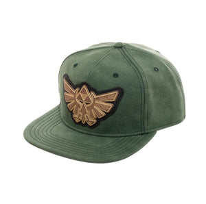 Bioworld Licensed The Legend Of Zelda Distressed PU Leather With Metal Logo Green Snapback Hat