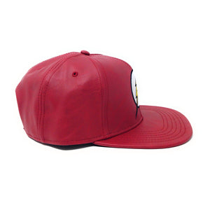 Bioworld Licensed The Flash Logo Embroidery PU Leather Red Snapback Hat