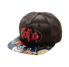 Load image into Gallery viewer, Bioworld Licensed Harley Quinn Black Satin Sublimated Brim Black/Red Snapback Hat