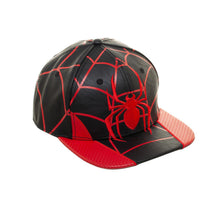 Load image into Gallery viewer, Bioworld Licensed Spider-man Miles Morales PU Leather Black/Red Snapback Hat