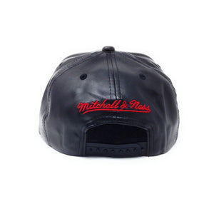 Mitchell and Ness Toronto Raptors PU Leather Red Partial Logo Black Snapback Hat