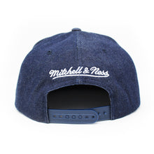 Load image into Gallery viewer, Mitchell And Ness Toronto Huskies Raw Denim 3T PU Visor Blue Denim Snapback Hat