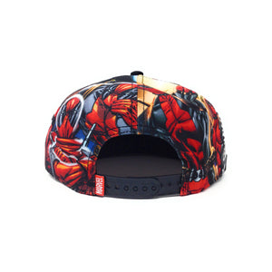 Bioworld Licensed Deadpool Marvel Logo Allover Sublimated Crown Black Snapback Hat