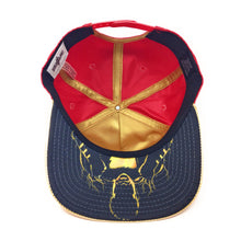 Load image into Gallery viewer, Bioworld Licensed Shazam Metal Weld Logo PU Leather Red/Gold Graphic Underbrim Snapback Hat