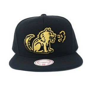 Mitchell and Ness Toronto Huskies Black/Gold Partial Logo Snapback Hat