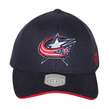 Load image into Gallery viewer, Old Time Hockey Blue Columbus Blue Jackets Raised Replica 3 Velcro Cap