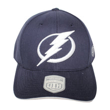 Load image into Gallery viewer, Old Time Hockey Blue Tampa Bay Lightning Raised Replica 3 Velcro Cap