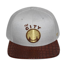 "Load image into Gallery viewer, 47 Brand Golden State Warriors ""The City"" Orinoco 47 Captain Grey/Brown/Gold Cap"