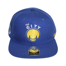 "Load image into Gallery viewer, 47 Brand Golden State Warriors ""The City""  Sure Shot 47 Captain Royal Blue/Yellow Cap"