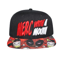 "Load image into Gallery viewer, Bioworld Licensed Deadpool ""Merc With A Mouth"" Sublimated Brim Snapback Hat"