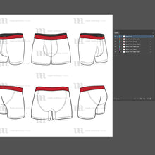 Load image into Gallery viewer, Boxer Briefs - Mockup and Template - 6 Angles, Layered, Detailed and Editable Vector in EPS, SVG, AI, PNG, DXF and PDF