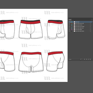 Boxer Briefs - Mockup and Template - 6 Angles, Layered, Detailed and Editable Vector in EPS, SVG, AI, PNG, DXF and PDF