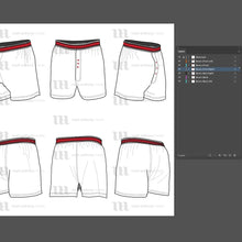 Load image into Gallery viewer, Boxers - Mockup and Template - 6 Angles, Layered, Detailed and Editable Vector in EPS, SVG, AI, PNG, DXF and PDF