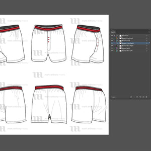 Boxers - Mockup and Template - 6 Angles, Layered, Detailed and Editable Vector in EPS, SVG, AI, PNG, DXF and PDF