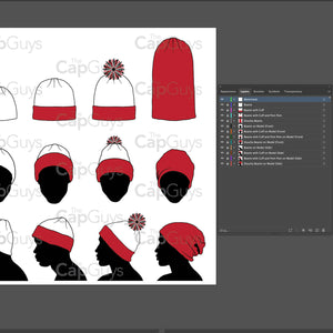 Beanie, Toque, Knit and Winter Hat - Mockup and Template - 12 Angles, Layered, Detailed and Editable Vector in EPS, SVG, AI, PNG, DXF and PDF