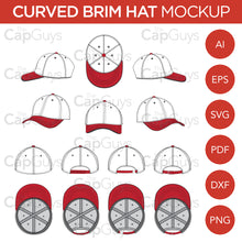 Load image into Gallery viewer, Curved Brim Baseball Cap - Mockup and Template - 8 Angles, Layered, Detailed and Editable Vector in EPS, SVG, AI, PNG, DXF and PDF