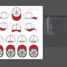 Load image into Gallery viewer, Curved Brim Baseball Cap Template - 8 Angles, Layered, Detailed and Editable Vector Mock Up Template