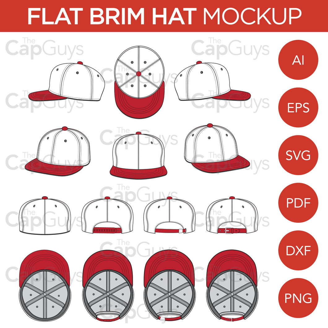 Flat Brim Baseball Cap - Mockup and Template - 8 Angles, Layered, Detailed and Editable Vector in EPS, SVG, AI, PNG, DXF and PDF
