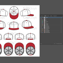 Load image into Gallery viewer, Flat Brim Baseball Cap Template - 8 Angles, Layered, Detailed and Editable Vector Mock Up Template