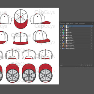 Flat Brim Baseball Cap Template - 8 Angles, Layered, Detailed and Editable Vector Mock Up Template