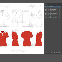 Load image into Gallery viewer, Golf/Polo Shirt - Mockup and Template - 8 Angles, Layered, Detailed and Editable Vector in EPS, SVG, AI, PNG, DXF and PDF