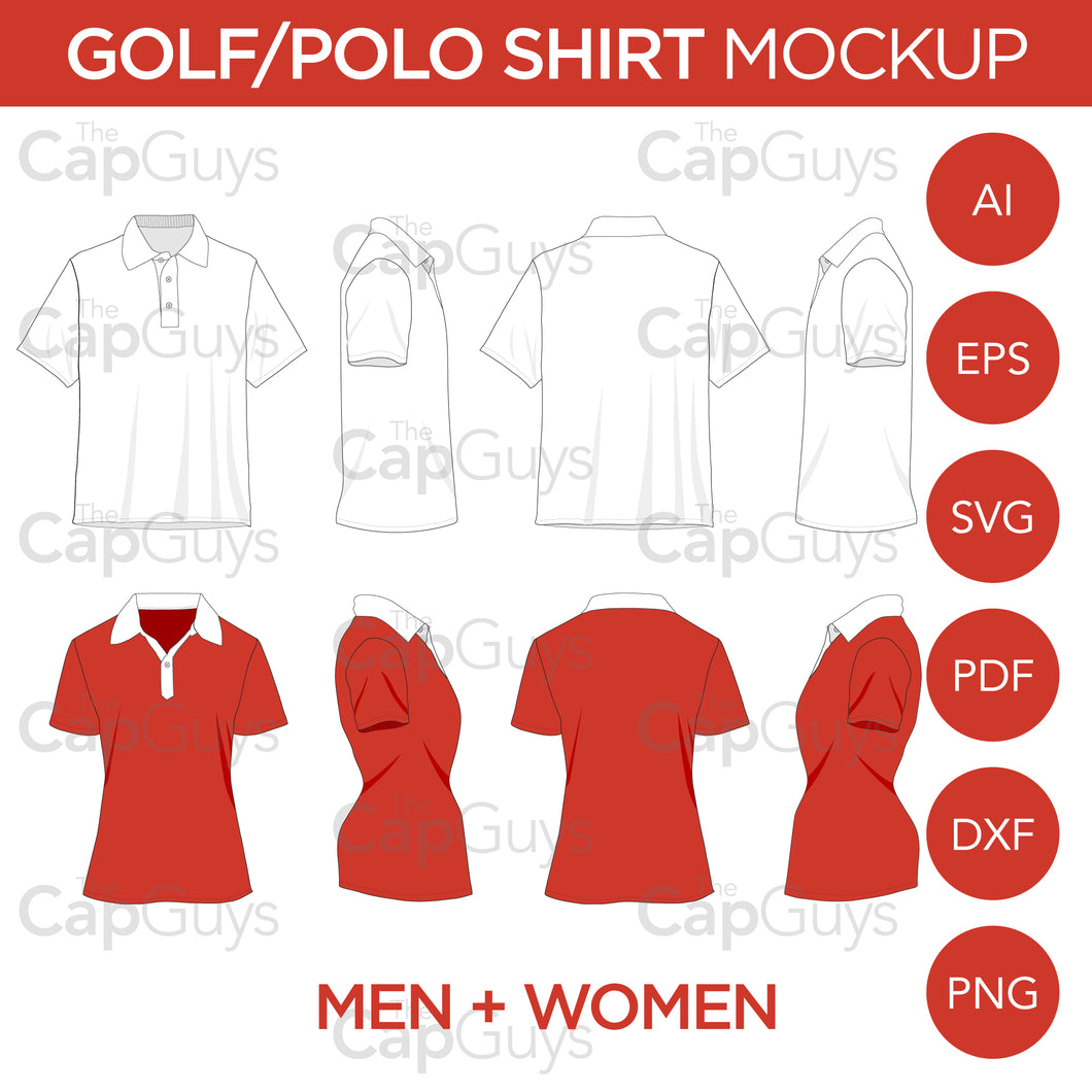Golf/Polo Shirt - Mockup and Template - 8 Angles, Layered, Detailed and Editable Vector in EPS, SVG, AI, PNG, DXF and PDF