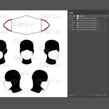 Load image into Gallery viewer, Handmade Masks - Mockup and Template - 6 Angles, 1 Style, Layered, Detailed and Editable Vector in EPS, SVG, AI, PNG, DXF and PDF