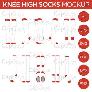 Knee High Socks - Mockup and Template - 11 Angles, Layered, Detailed and Editable Vector in EPS, SVG, AI, PNG, DXF and PDF