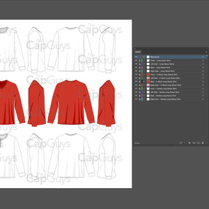 Long Sleeve T-Shirt, V-Neck, Henley Shirts - Mockup and Template - 12 Angles, 3 Styles, Layered, Detailed and Editable Vector in EPS, SVG, AI, PNG, DXF and PDF