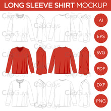 Load image into Gallery viewer, Long Sleeve T-Shirt, V-Neck, Henley Shirts - Mockup and Template - 12 Angles, 3 Styles, Layered, Detailed and Editable Vector in EPS, SVG, AI, PNG, DXF and PDF