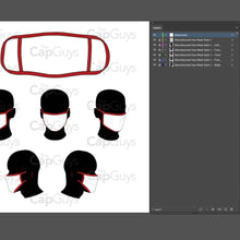 Load image into Gallery viewer, Manufactured Masks - Mockup and Template - 6 Angles, 1 Style, Layered, Detailed and Editable Vector in EPS, SVG, AI, PNG, DXF and PDF