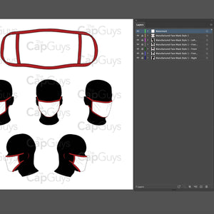Manufactured Masks - Mockup and Template - 6 Angles, 1 Style, Layered, Detailed and Editable Vector in EPS, SVG, AI, PNG, DXF and PDF