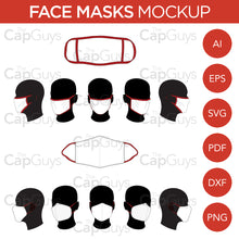 Load image into Gallery viewer, Face Masks - Mockup and Template - Hand Made, Manufactured - 6 Angles, 2 Styles, Layered, Detailed and Editable Vector in EPS, SVG, AI, PNG, DXF and PDF