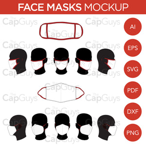 Face Masks - Mockup and Template - Hand Made, Manufactured - 6 Angles, 2 Styles, Layered, Detailed and Editable Vector in EPS, SVG, AI, PNG, DXF and PDF