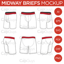 Load image into Gallery viewer, Midway Boxer Briefs - Mockup and Template - 6 Angles, Layered, Detailed and Editable Vector in EPS, SVG, AI, PNG, DXF and PDF